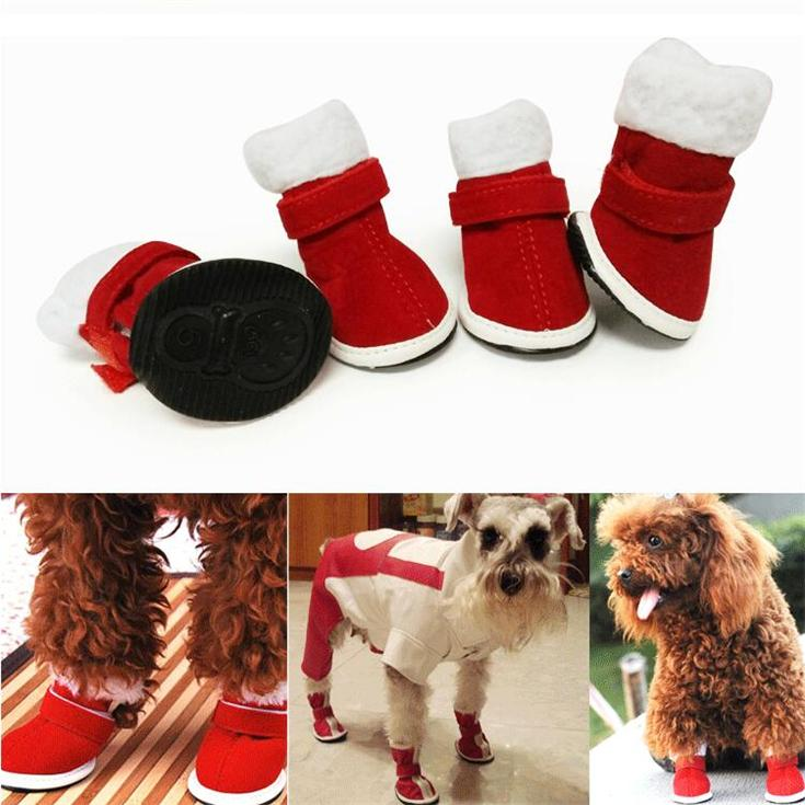 5 taille chaussures de chien chaud pour la marche sports portables animaux imperméables semelles antidérapantes neige bottes vêtements chaussures de noël décoration de noël pour animaux de compagnie