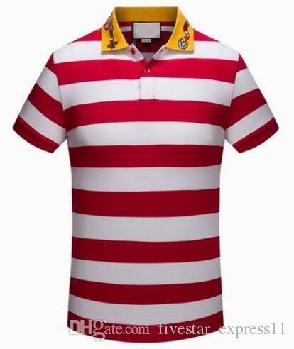 42a2e0f4087 Active New Men's Striped Polo Shirt Italy Snake Bee Collar Men Short ...
