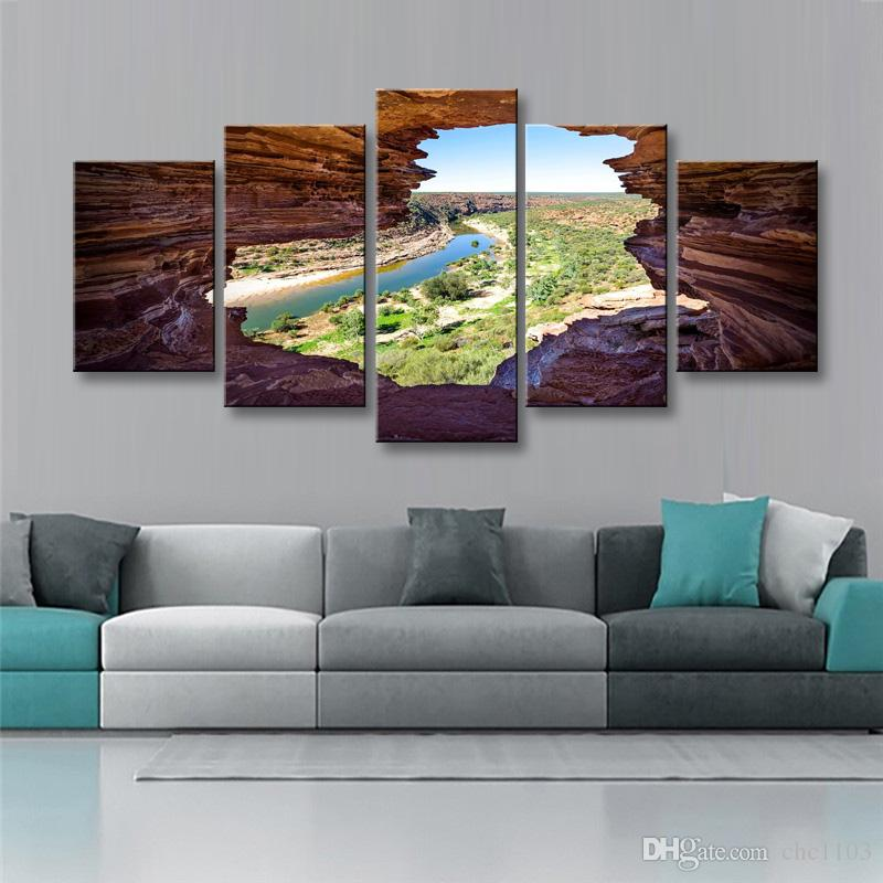 high-definition print nature river rock canvas oil painting poster and wall art living room picture PL5-224