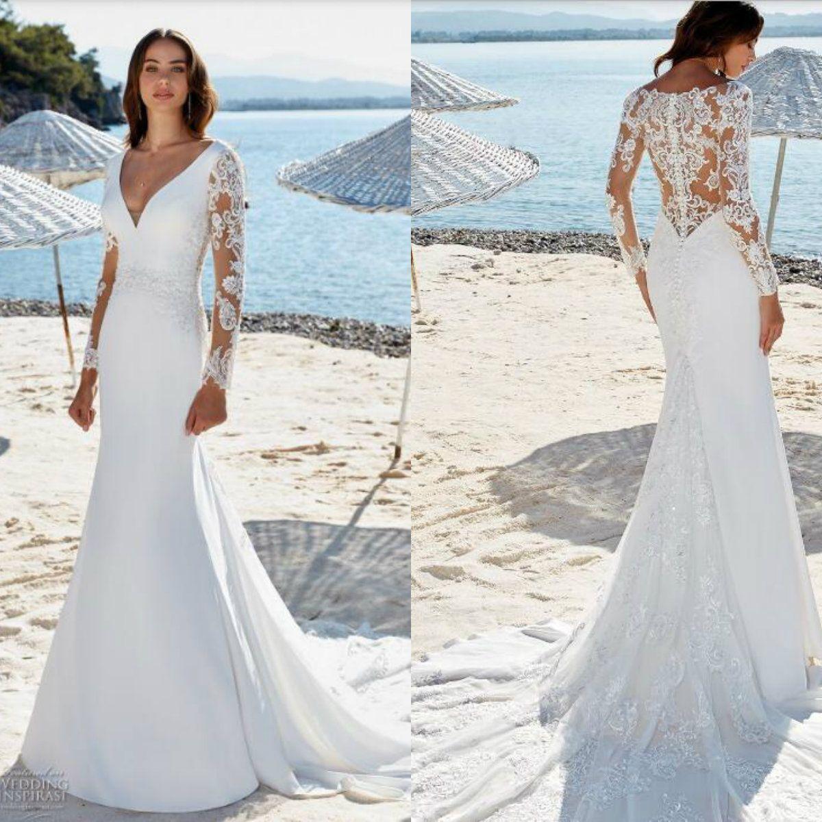 b4c335e5043e Eddy K. Dreams 2019 Wedding Dress V Neck Lace Long Sleeves Sequins  Appliques Beach Wedding Dresses Vestios Beautiful Wedding Dress Bridal  Designers From ...