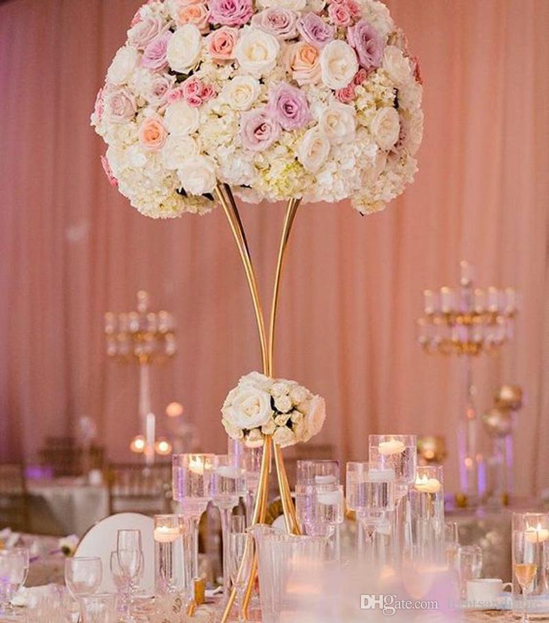 80cm 100cm Gold Color Metal Trumpet Table Centerpieces Flower Floral