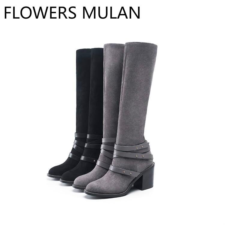474dd601162 Winter Grey Black Suede Upper Knee High Boots Women Round Toe Chunky Heel  Ladies Booties Side Zipper Shoes Woman Three Buckle