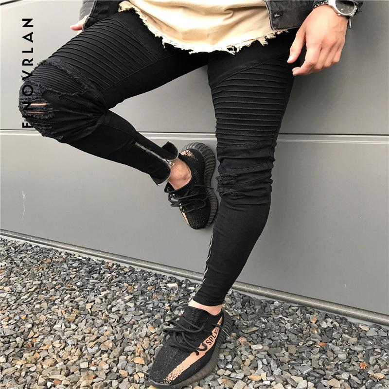 9cce36d5ac4 2019 2018 New Men Ripped Holes Jeans Zip Skinny Biker Jeans Black White  With Pleated Patchwork Slim Fit Hip Hop Men Pants From Yingluo, $37.53 |  DHgate.Com