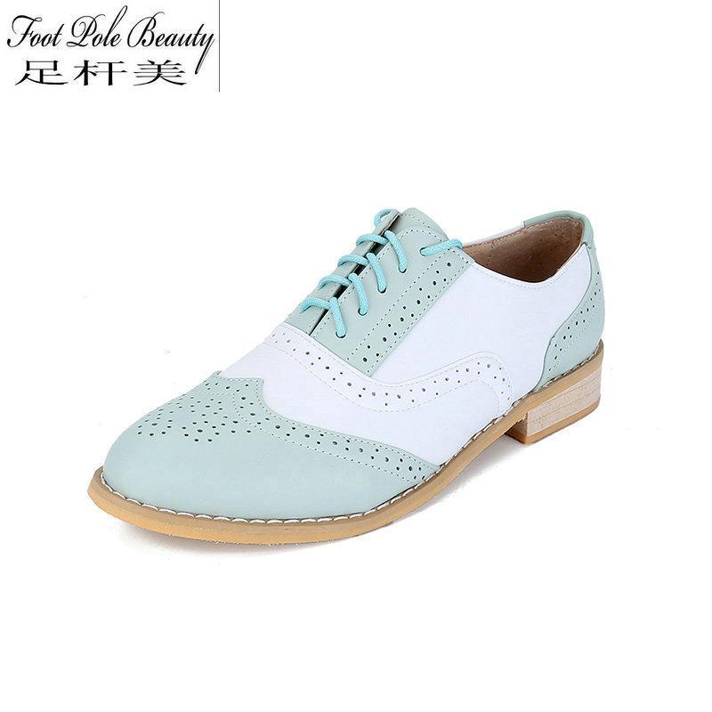 26d2f1e1d4 Compre Zapatos Oxford De Cuero Genuino Para Mujer Con Cordones Pisos Mujer  Estilo Británico Bullock Zapatos De Costura Sapatos Oxford EE. UU.