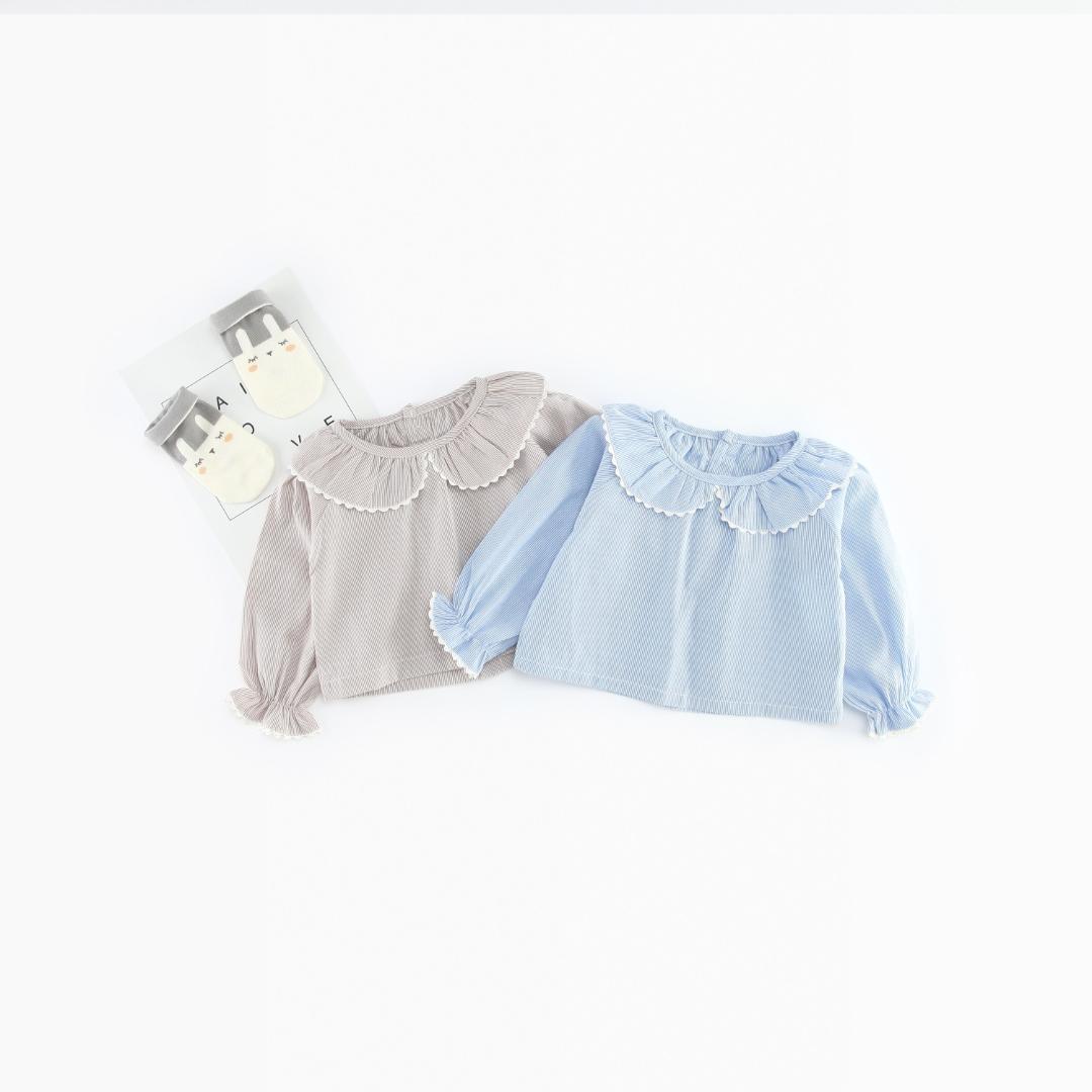 Compre Camisas Para Niñas Pequeñas 2018 Moda Para Otoño Peter Pan Color  Baby Girls Blusas Camisas De Manga Larga Con Volantes Y Tops Para Niños  Ropa Al Por ... 266a51fc371