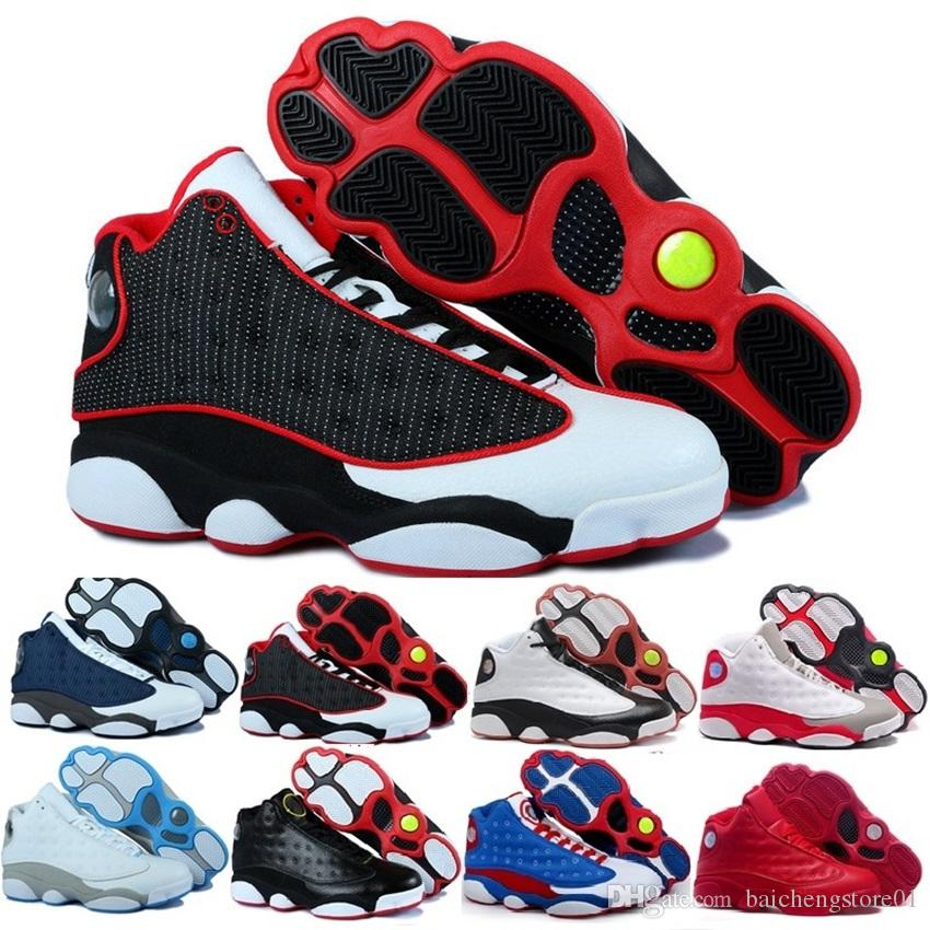promo code ac393 5a5c7 Compre RBarato 2018 Zapatos De Alta Calidad 13 XIII 13s Hombres Zapatillas  De Baloncesto Mujeres Criadas Negro Marrón Blanco Holograma Pedernales Gris  ...
