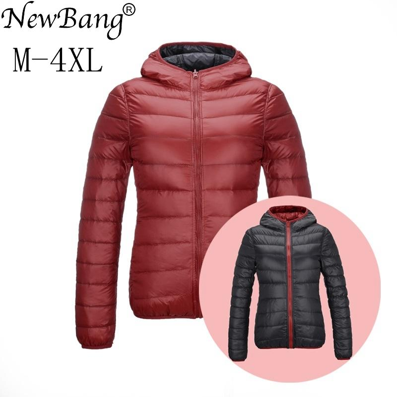 quality design 6c8c9 5cfe4 NewBang Brand Piumino Donna Hooded Ultra Light Down Jacket Donna Double  Side Reversibile Giacche Leggero Warm Coat Y18102602