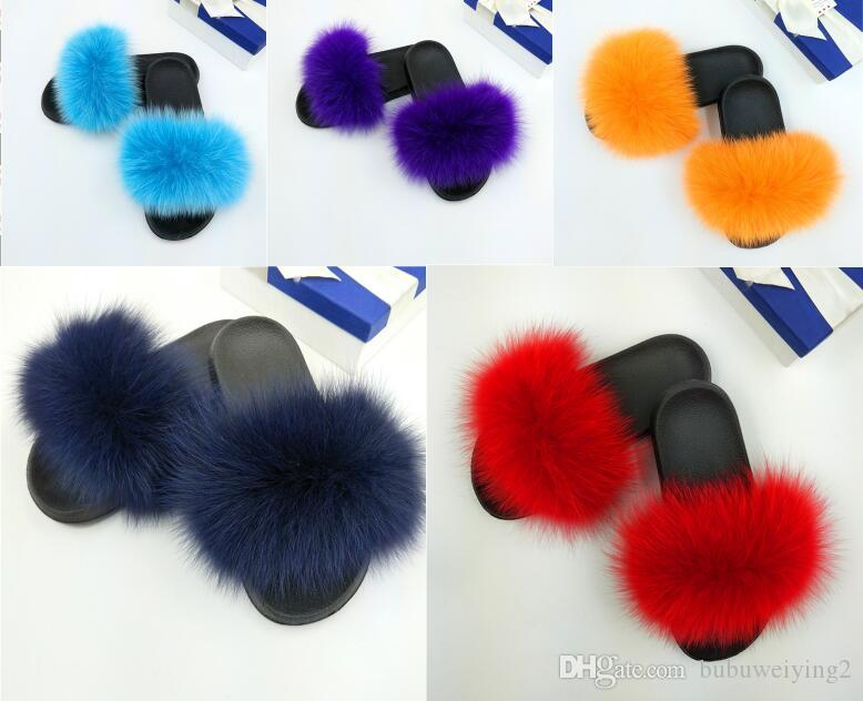 dc8d0d8342af Natural Fox Fur Slippers