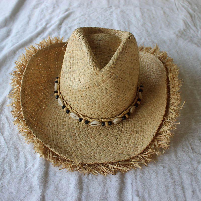 2018 Summer Men Raffia Jazz Hats Mens American Western Cowboys Straw Hat  Print Stars Beach Sun Caps For Men Mens Straw Hats Mens Hat Styles From ... efcb3735b86