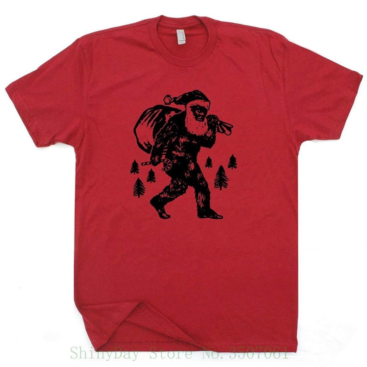Sasquatch Santa Clause T Shirt Funny Christmas Shirts Bigfoot Tee ...