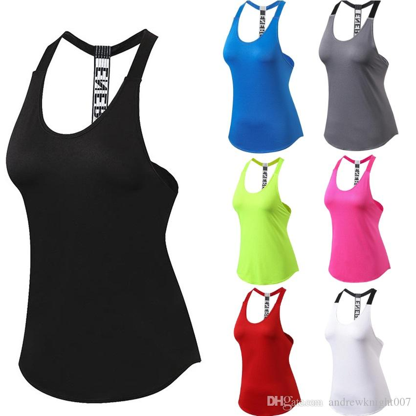8b186a4f73b71e 2019 Female Tank T Shirt Dry Quick Yoga Sweater Loose Gym Sleeveless Women  Sportwear Vest From Andrewknight007