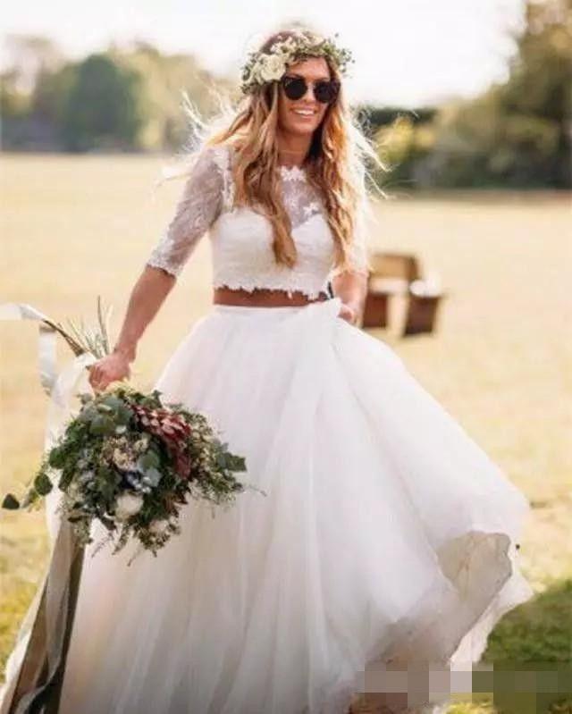 2019 Boho Two Piece Beach Wedding Dress A Line Half Sleeves Lace Crop Top Tulle Floor Length Country Bridal Gowns Vestido De Novia