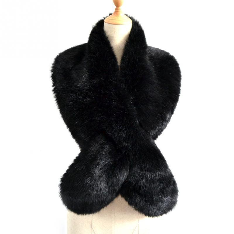 3b5e7db11ba9 Faux Fur Scarf Crossover Fur Scarf Long Multicolor Mufflers ...