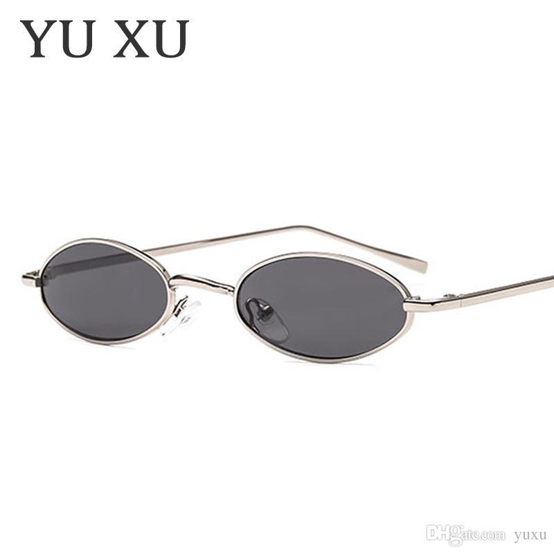 Compre Yu Xu Moda Pequeno Quadro Oval Óculos De Sol Das Mulheres De Design  Da Marca Esbelto Óculos De Sol De Metal Masculino Retro Moldura De Metal  Pequeno ... 179232bf1f