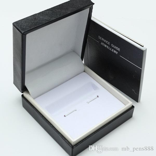 Luxury NEW design Black cufflinks Box with Service Guide Book Classic Style. dropship
