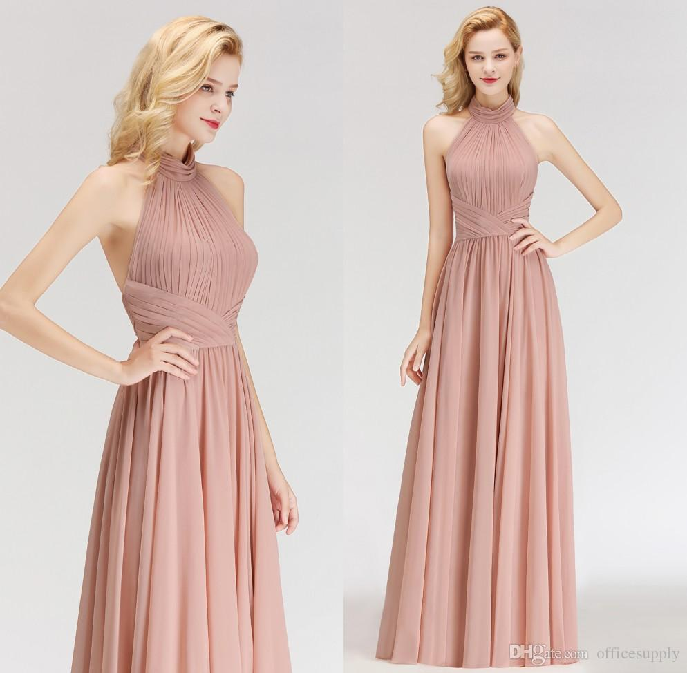 a8e319d32840d Cheap Free Shipping Dusty Pink 2019 New Designer Cheap Bridesmaid Dresses  Halter Neck Backless Floor Length Maid of Honor Dresses