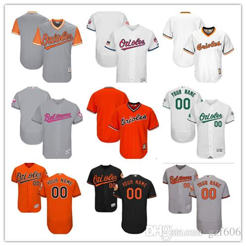 d79774f4543 custom Men s women youth Majestic Baltimore Orioles Jersey Personalized  Name and Number Orange Grey White Kids Girls Baseball Jerseys