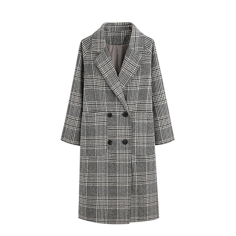 3da984201 2019 2018 Winter Woolen Cloth Coat Womens Vintage Plaid Mid Long ...