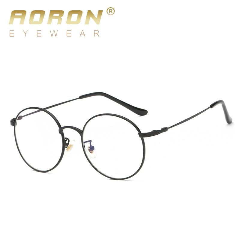 77aa5313df3a AORON Men Anti-blue Rays Glasses Round Metal Frames for Women Mens ...