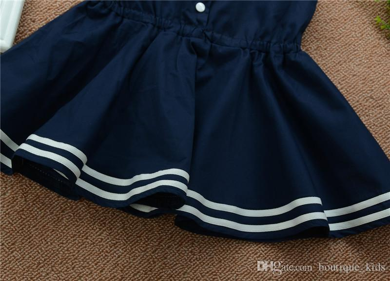 Abbigliamento bambini 2018 Summer Baby Girl Abiti Princess Navy Dress Suit Striped Baby Abito senza maniche Casual Bebes Sailor Style Girls Dresses