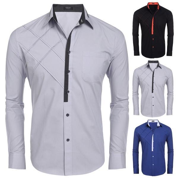 740733f72 Compre Fashionbuy Hombres Manga Larga Contraste Color Patchwork Casual  Camisa Con Botones A  34.18 Del Strawberry9