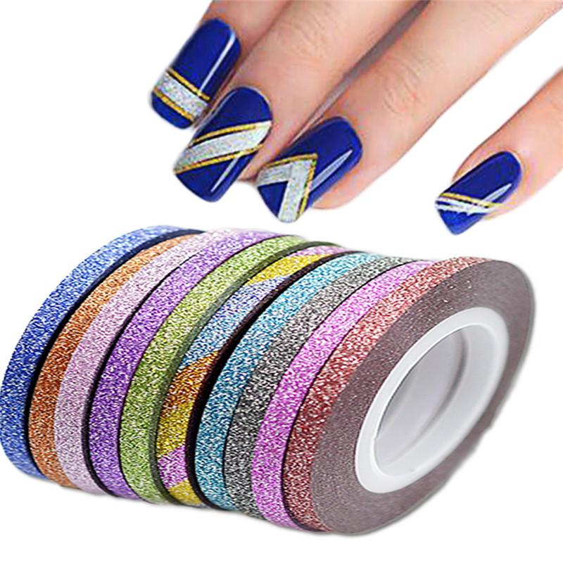 SWEET TREND 1Rolls 3mm Glier Nail Art Tape Line Strips Striping Decoration For UV Gel Polish Nail Art Adhesive Sticker LANC390