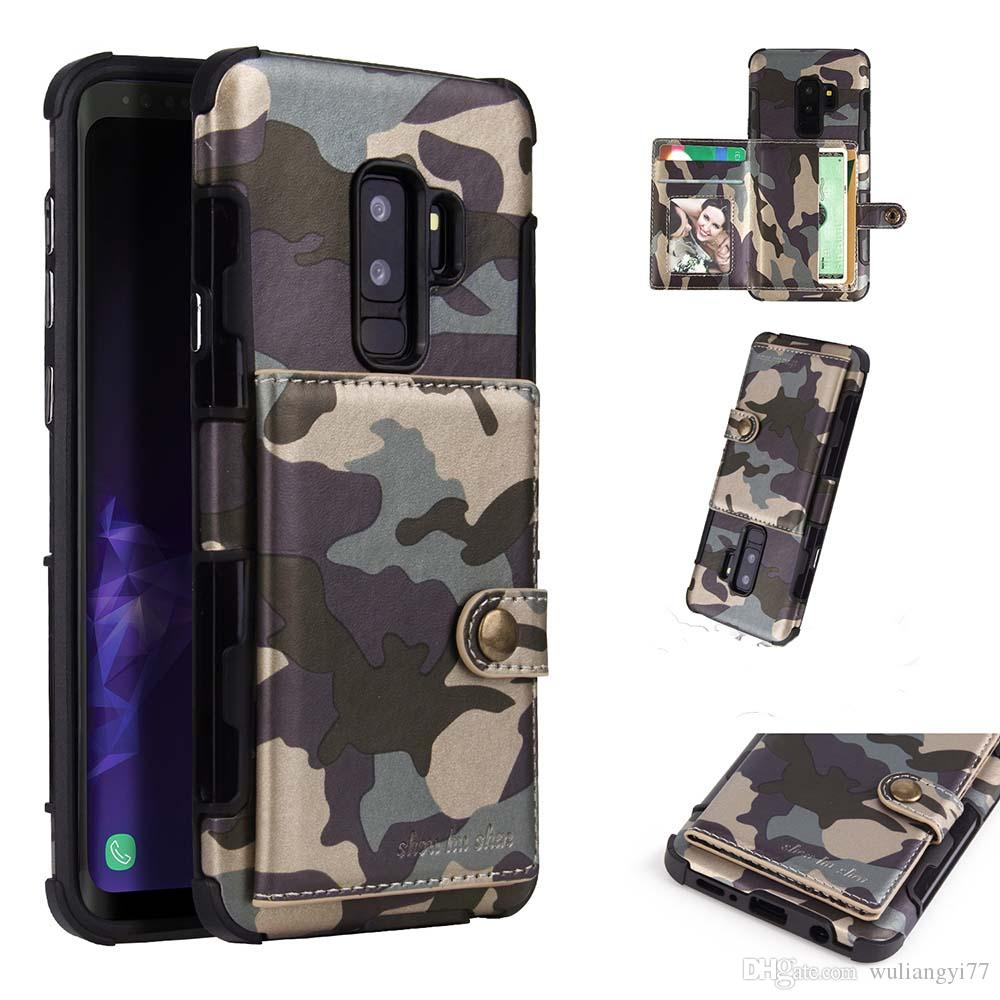 quality design 24a99 3d65e Phone Case For Samsung Galaxy S8 S9 Plus Note 9 Camouflage PU Leather Case  For S8 Plus Camo Card Pocket Bag