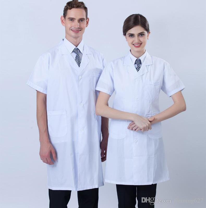 7c3df8ab276 2019 White Coat Short Sleeve Doctor Nurse Clothing Summer Uniform Work Wear  Hospital Clothe Split Uniforme Medico Factory Direct Sale From Fleming627,  ...