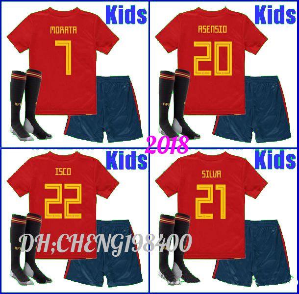 7b0c747d7b1 Kit Spain Kids Jersey 2018 World Cup Spain Soccer Jerseys Boys Home ...