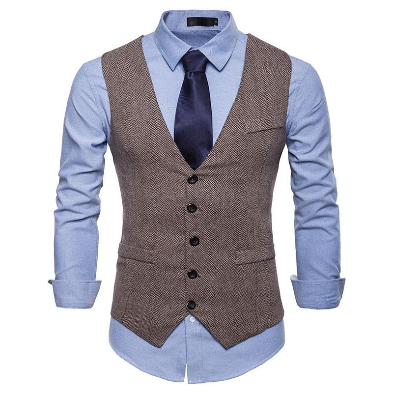 Fast Deliver New Woolen Suit Vest Men 2018 Fashion Single Breasted Wool Vest Waistcoat Mens Slim Wedding Business Tuxedo Vests Gilet Homme Up-To-Date Styling Men's Clothing Suits & Blazers