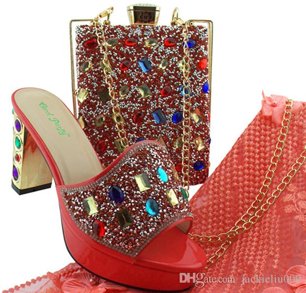 Fashionable dark blue women shoes with big crystal african shoes and handbag set for dress MD002,heel 9CM