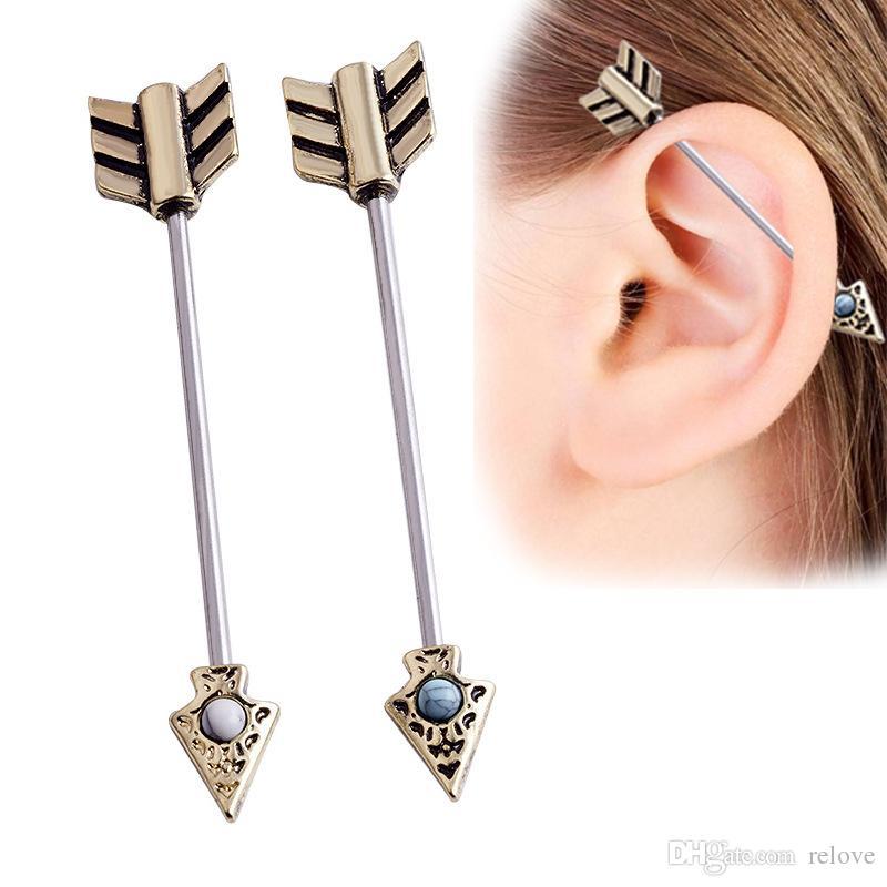 2018 Spring New Ear Nail Bone Arrow Earring Piercing stud Jewelry Vintage Turquoise Earrings For Men Women