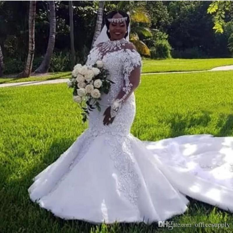 African Plus Size Wedding Dresses 2019 High Neckline Illusion Long Sleeve Appliques Beaded Mermaid Bridal Gowns Court Train