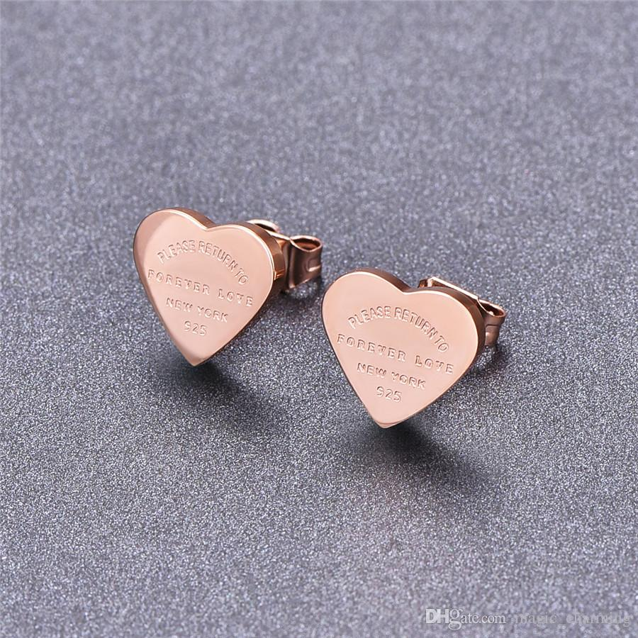 High Quality Gold-color Stainless Steel Heart Earrings For Women Rose Gold-color Titanium Heart Stud Earrings Fine Jewelry