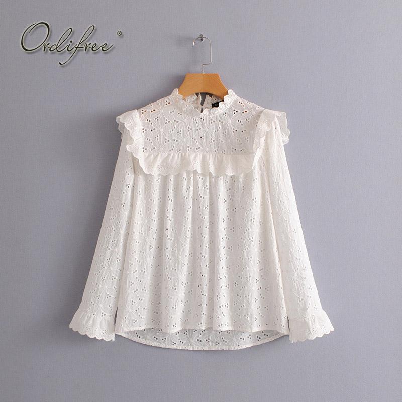 f2d1e1abbfcdf7 Großhandel Ordifree 2018 Sommer Frauen Stickerei Bluse Shirt Langarm Spitze  Niedlich Gestickte Mädchen Weiße Bluse Von Luweiha, $37.27 Auf De.Dhgate.
