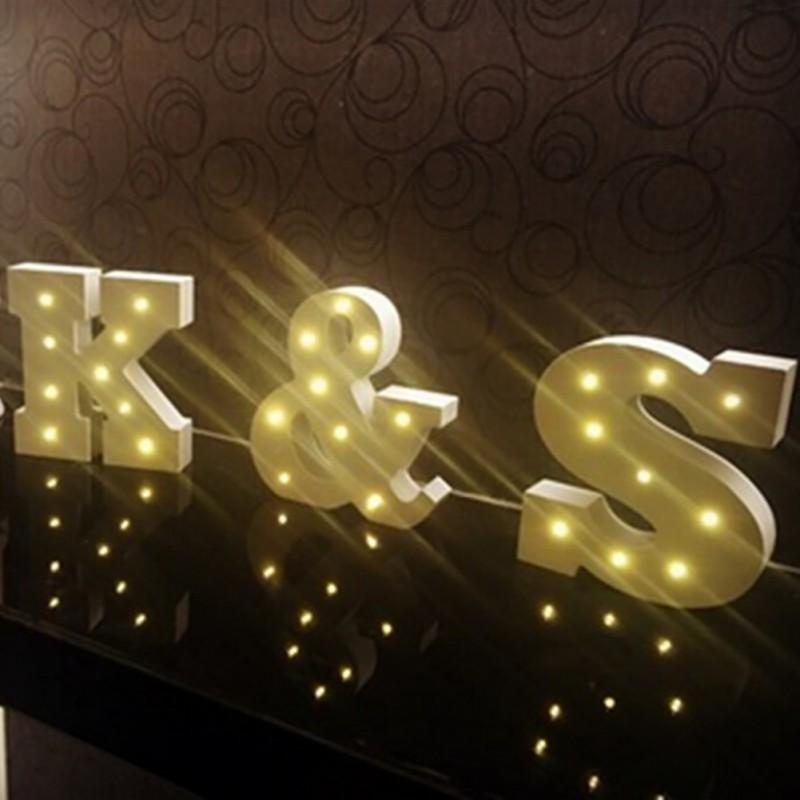 Creative Free Combination A Z White Wooden Luminous Alphabet Led Neon Plate Lighted Letters Sign For Wall Decoration Indoor Home