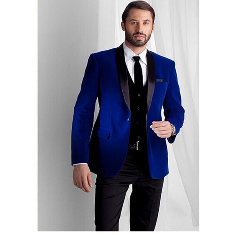 4980f70b07b5 2017 Nueva Moda Real Azul Terciopelo Chaqueta Novio Novio Negro Mejor Traje  de Los Hombres trajes de promoción para hombre Tuxedos (Chaqueta ...