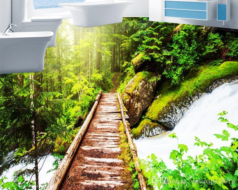 3d pvc floor wallpaper for bathroom Forest garden garden wooden trestle 3D three-dimensional floor to paint