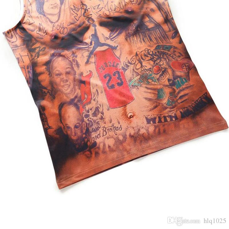 Hombres ajustados sin mangas Bodybuilding ropa JR Smith tatuaje Muscle Man Print camisetas camisas Compression Tank Tops tribu india chaleco 3D