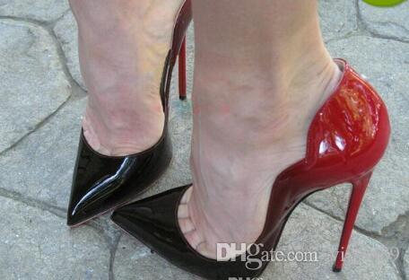 20b887f0268c Acheter Marque Femmes Chaussures Rouge Bas Talons Hauts 12 CM Sexy Escarpins  Chaussures Pour Femmes En Cuir Verni Talons Hauts Chaussures De Mariage  Femme À ...