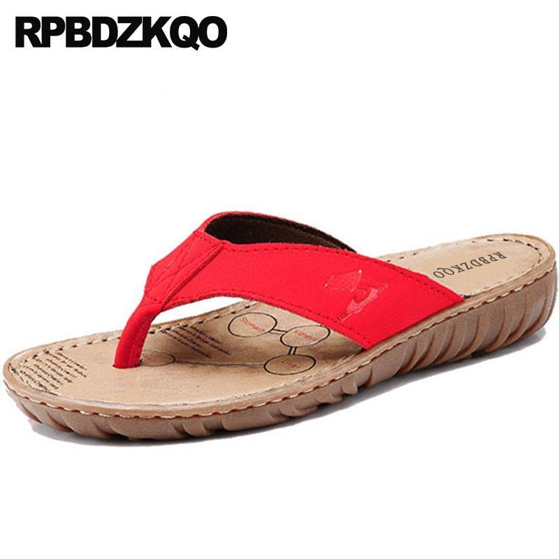 730d3de728d Compre Diapositivas Sandalias Rojas Ocasionales 2018 Zapatos Anchos De  Ajuste Para Mujer Moda Lisa Verano Chino Playa Mujer Zapatillas Chancleta  De Cuero ...