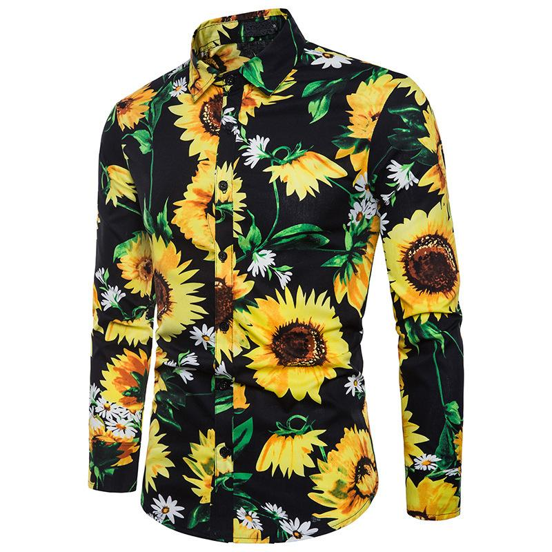 Fashion trend flower shirt male 2018 autumn new printing shirt brand clothes casual business Hawaii long-sleeved large siz
