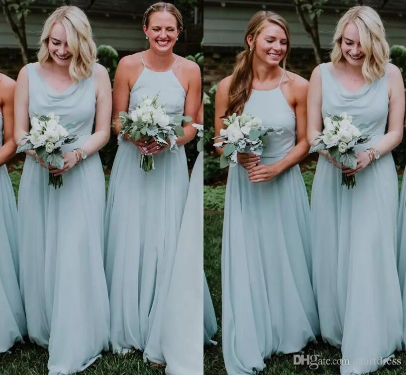 e6f5bf87a30 Dusty Sage Country Bridesmaids Dresses Mixed Match Chiffon Halter Boho  Garden Beach Maid Of Honor Gown Floor Length Long Cheap Wedding Guest  Online ...