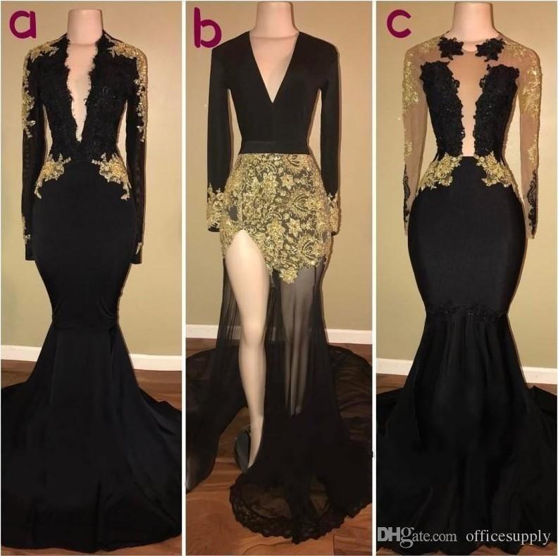 Seksi Altın Siyah Uzun Kollu Dantel Balo Parti Elbiseler Jewel Mermaid Uzun Kollu Kanat Saten Balo Elbise Örgün Kadın Abiye giyim