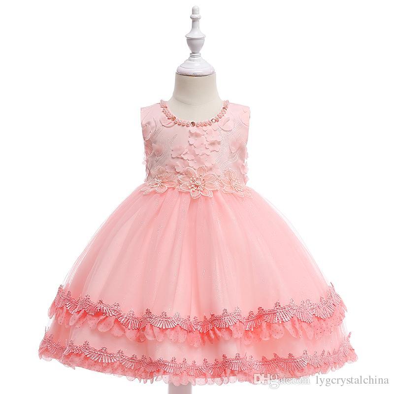 908e94b3319 Diamond Flowers Girl S Pink Lace Princess Dress Embroidered Wedding Dress  Beaded 4 Layers Dress High Qulaity Workmanship HALLOWMAS GOOD PRIC Tulle  Flower ...