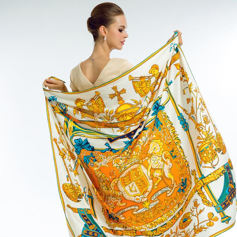 f6c2d1f19f5 Acheter 2018 Marque De Luxe Foulard En Soie Femme Espagne Imprimer Hymne  Royal Cou Enveloppes Echarpe Carré Grand Taille Châle Hijab 130   130cm  D18102406 ...