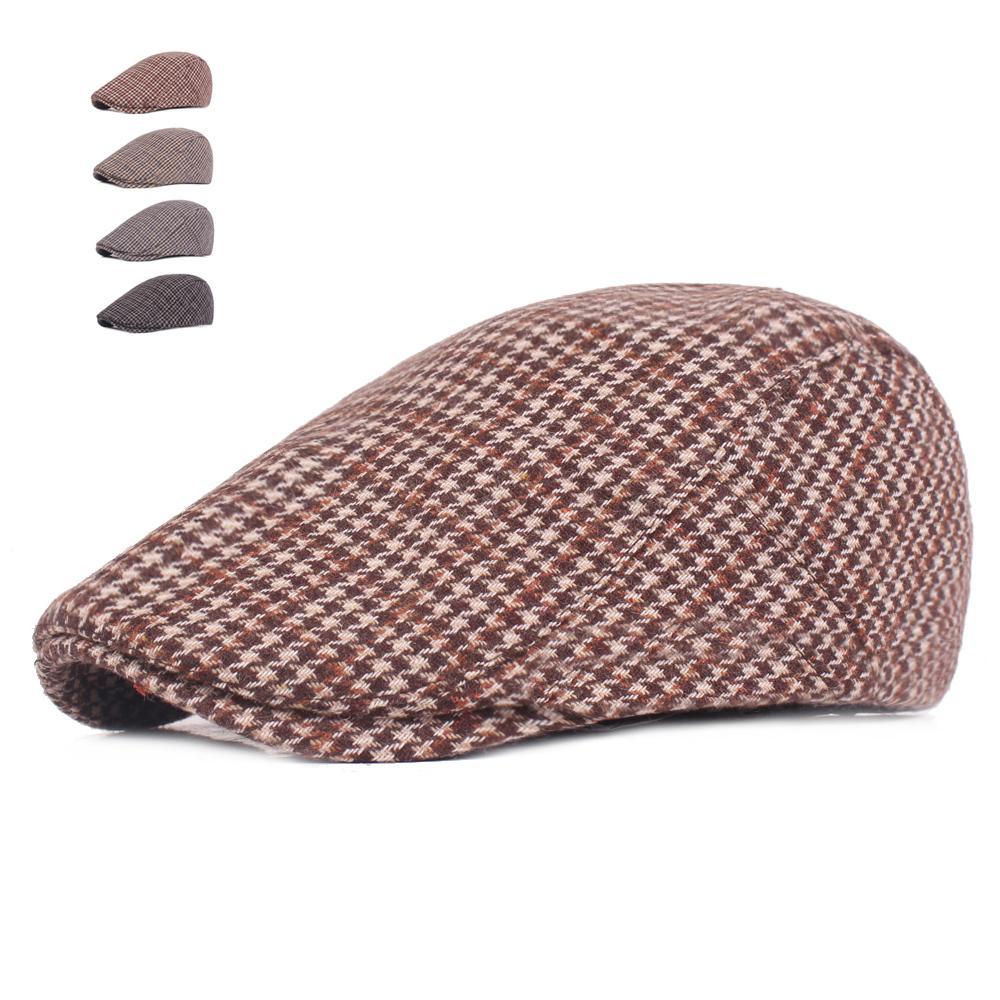Compre Otoño Invierno Sombreros Para Hombre Casual Swallow Gird Beret Gorras  Gorras Planas Boinas Compruebe Tapa Plana Ajustable Boinas De Algodón Macho  A ... 7cca49c2bf5
