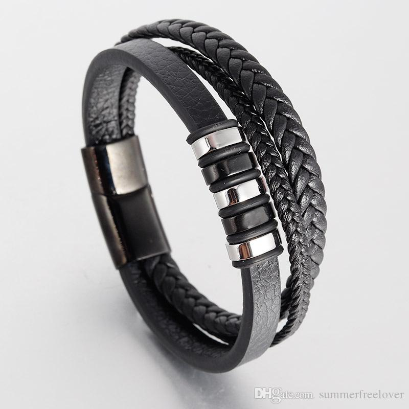 38331b275e2bc Leather Bracelet for Man Retro Genuine Weaving Flat Double Layers' Leather  Stainless Steel Decoration Energy Bracelet