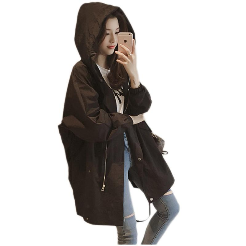 1c91a7247 2019 Spring Lady Hooded Windbreaker New Trench Coat Womens Zipper ...