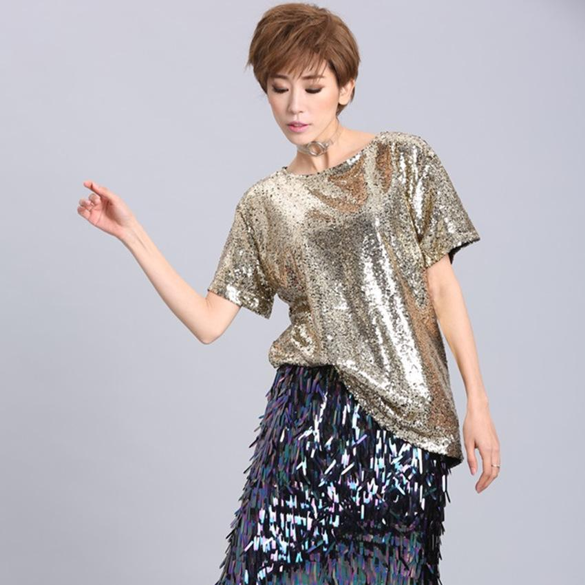Bling Sequin Top 2018 Summer Hip Hop Top Solid Gold silver Women T Shirt  INS Popular Shirts Girl Oversize Tops Harajuku LT118S30 T-Shirts Cheap T- Shirts ... be36738cfcb2
